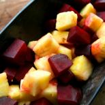A very colourful salad, with deep red beetroots and bright yellow pineapple